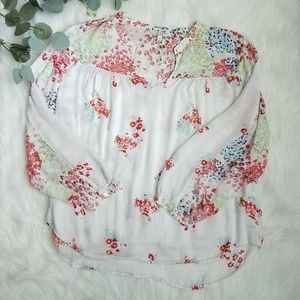 LUCKY BRAND Floral Peasant Top XL